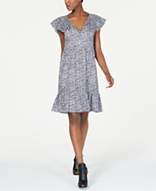 MICHAEL Michael Kors Cotton Eyelet Printed Dress