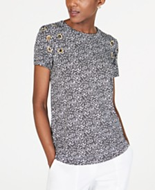MICHAEL Michael Kors Printed Grommet-Trim Top
