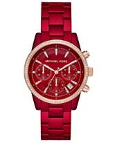 c8e413cd12a6 Michael Kors Women s Ritz Red Stainless Steel Bracelet Watch 37mm