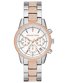 Michael Kors Women's Ritz Two-Tone Stainless Steel & Crystal-Accent Bracelet Watch 37mm