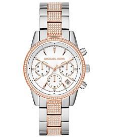 Michael Kors Women's Ritz Two-Tone Stainless Steel & Crystal-Accent Bracelet Watch 37mm