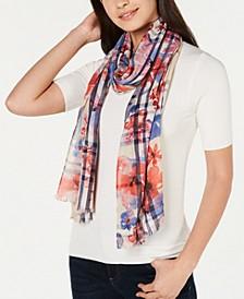 Floral-Print Plaid Scarf