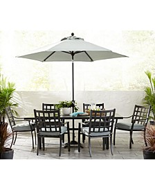 "Highland Outdoor 7-Pc. Dining Set (84"" x 42"" Dining Table and 6 Dining Chairs) with Sunbrella® Cushions, Created for Macy's"
