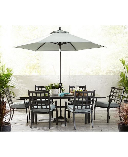 Terrific Highland Aluminum Outdoor 9 Pc Dining Set 64 Square Dining Table And 8 Dining Chairs With Sunbrella Cushions Created For Macys Beutiful Home Inspiration Aditmahrainfo
