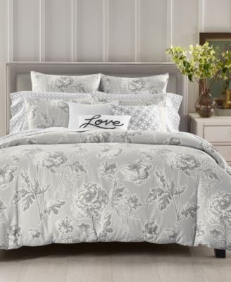 Engraved Flower Cotton 300-Thread Count 3-Pc. King Duvet Cover Set, Created for Macy's