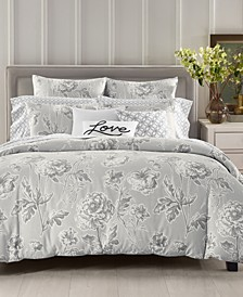 Engraved Flower 300-Thread Count Duvet Cover Sets, Created for Macy's