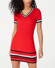 Crave Fame Juniors' Varsity-Stripe Sweater Dress