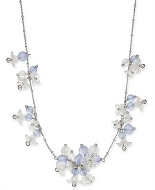 "Kate Spade New York  Silver-Tone Bead & Flower Statement Necklace, 17"" + 3"" extender"