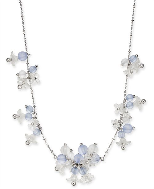 """kate spade new york  Silver-Tone Bead & Flower Statement Necklace, 17"""" + 3"""" extender"""