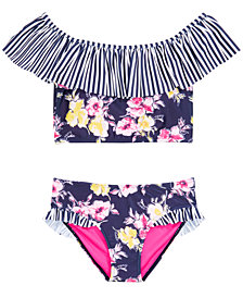 DKNY Big Girls 2-Pc. Striped Floral Sunsuit Bikini