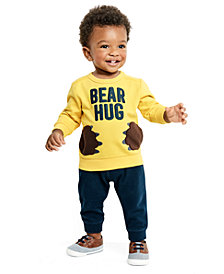 Carter's Baby Boys 2-Pc. Bear Hug Graphic Top & Jogger Pants Set
