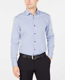 HUGO Men's Slim-Fit Tonal Navy Dot Dress Shirt