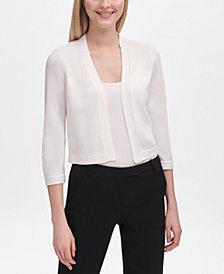 Calvin Klein Open-Front 3/4-Sleeve Shrug