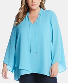 Karen Kane Plus Size Mandarin-Collar Top