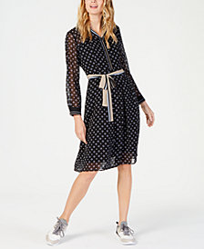 Marella Printed Tie-Waist Chiffon Dress