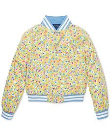 Polo Ralph Lauren Big Girls Floral-Print Cotton Baseball Jacket
