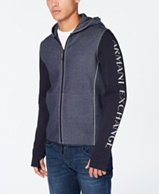 A|X Armani Exchange Men's Colorblocked Logo-Print Double-Knit Hoodie