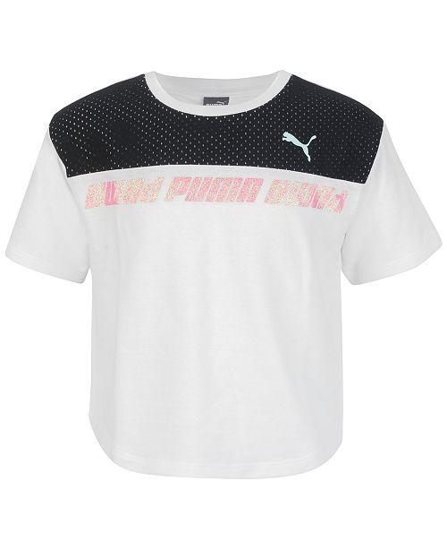 Puma Big Girls Mesh-Trim Logo-Print T-Shirt