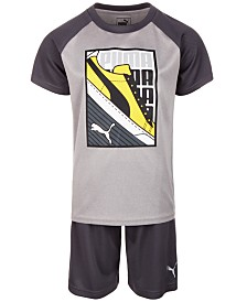 Puma Little Boys 2-Pc. Graphic-Print T-Shirt & Shorts Set
