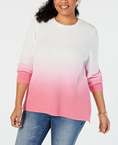 I.N.C. Plus Size Dip-Dye Sweater, Created for Macy's
