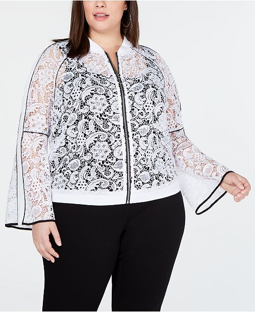 INC International Concepts I.N.C. Plus Size Piped Lace Bomber Jacket, Created for Macy's