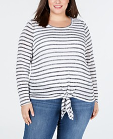 I.N.C. Plus Size Tie-Front Sweater, Created for Macy's