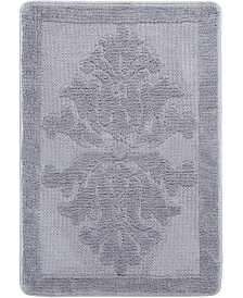 Home Dynamix Shabby Chic Duet Plush Two Tone Reversible Border-Textured Floral Cut and Loop Shaggy Bath Mat