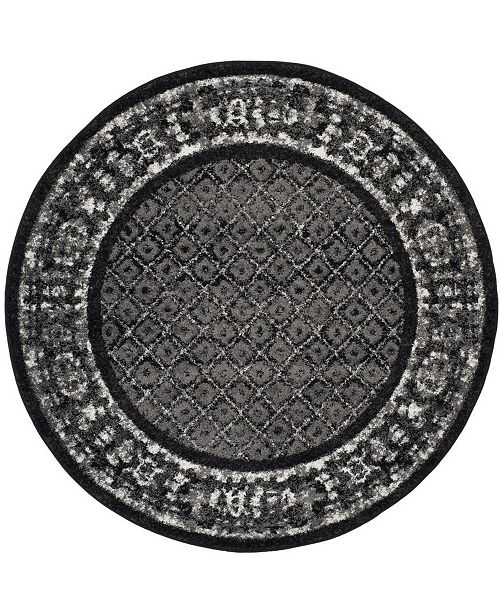 Safavieh Adirondack Black and Silver 6' x 6' Round Area Rug