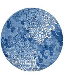 Adirondack Light Blue and Dark Blue 6' x 6' Round Area Rug