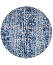 Adirondack Blue and Silver 6' x 6' Round Area Rug