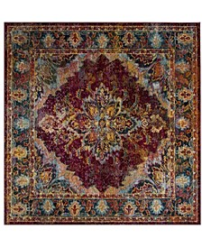 Crystal Ruby and Navy 7' x 7' Square Area Rug