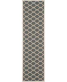 """Safavieh Courtyard Anthracite and Beige 2'3"""" x 8' Sisal Weave Area Rug"""