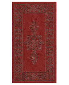 "Safavieh Courtyard Red and Chocolate 2' x 3'7"" Sisal Weave Area Rug"