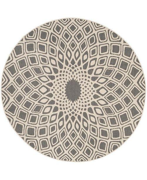 "Safavieh Courtyard Anthracite and Beige 6'7"" x 6'7"" Sisal Weave Round Area Rug"