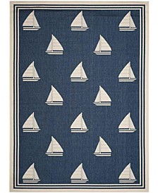 Courtyard Navy and Beige 8' x 11' Sisal Weave Area Rug