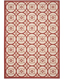 Courtyard Beige and Red 8' x 11' Sisal Weave Area Rug