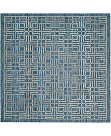 "Safavieh Courtyard Navy and Gray 6'7"" x 6'7"" Square Area Rug"