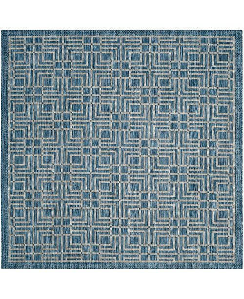 """Safavieh Courtyard Navy and Gray 6'7"""" x 6'7"""" Square Area Rug"""
