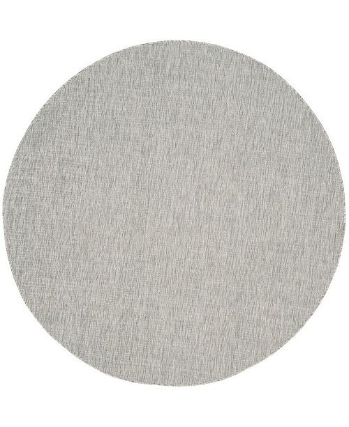 """Safavieh Courtyard Gray and Turquoise 6'7"""" x 6'7"""" Sisal Weave Round Area Rug"""
