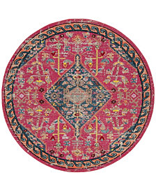 """Safavieh Madison Pink and Turquoise 6'7"""" x 6'7"""" Round Area Rug"""