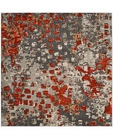"""Monaco Gray and Orange 6'7"""" x 6'7"""" Square Area Rug"""