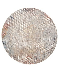 Monray Gray and Gold 7' x 7' Round Area Rug