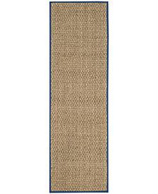 "Safavieh Natural Fiber Natural and Navy 2'6"" x 8' Sisal Weave Area Rug"