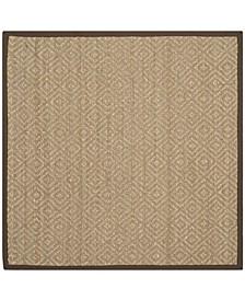 Natural Fiber Natural and Brown 6' x 6' Sisal Weave Square Area Rug