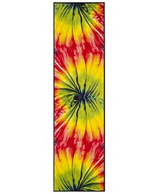 "Paint Brush Fuchsia and Yellow 2'3"" x 8' Runner Area Rug"