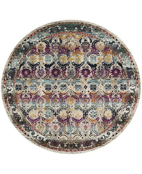 "Safavieh Baldwin Cream and Multi 6'7"" x 6'7"" Round Area Rug"