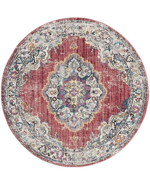Safavieh Bristol Rose and Light Gray 7' x 7' Round Area Rug