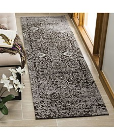 """Classic Vintage Silver and Brown 2'3"""" x 8' Runner Area Rug"""
