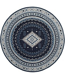 Classic Vintage Navy and Light Blue 6' x 6' Round Area Rug