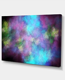 "Designart Perfect Blue Purple Starry Sky Abstract Canvas Art Print - 32"" X 16"""
